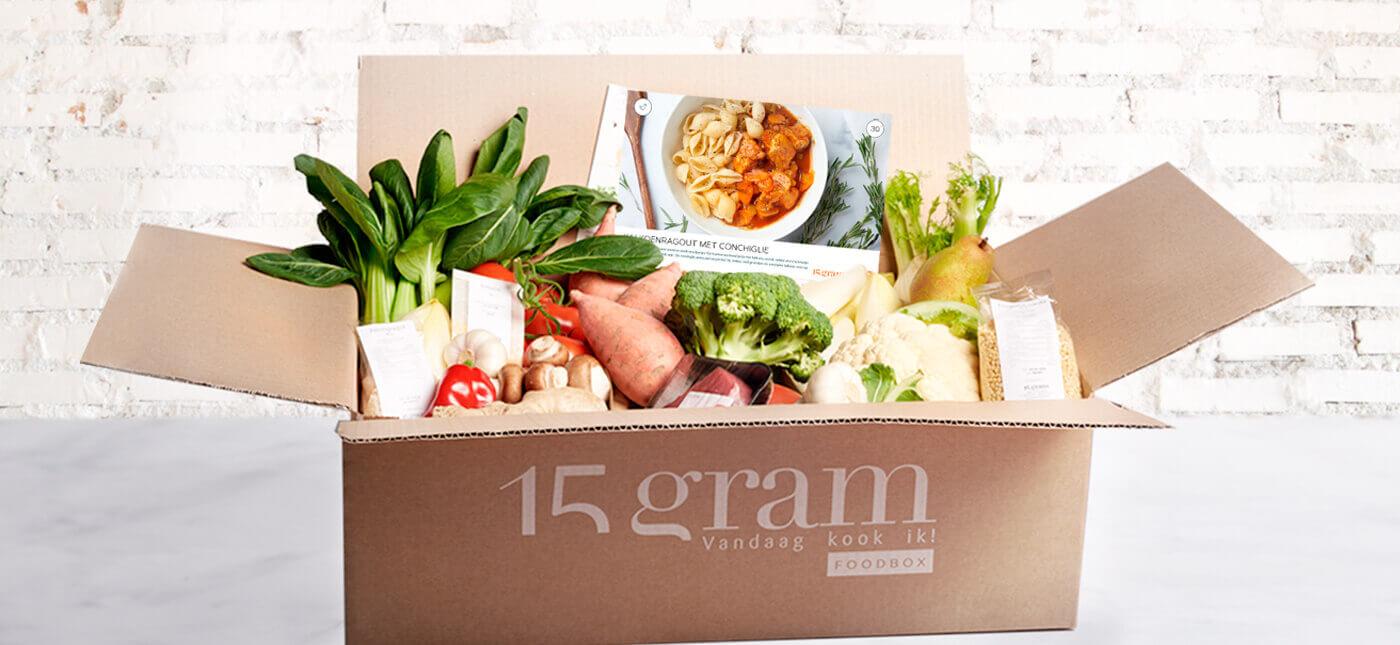Afbeelding van een 15gram Foodbox vol verse ingrediënten