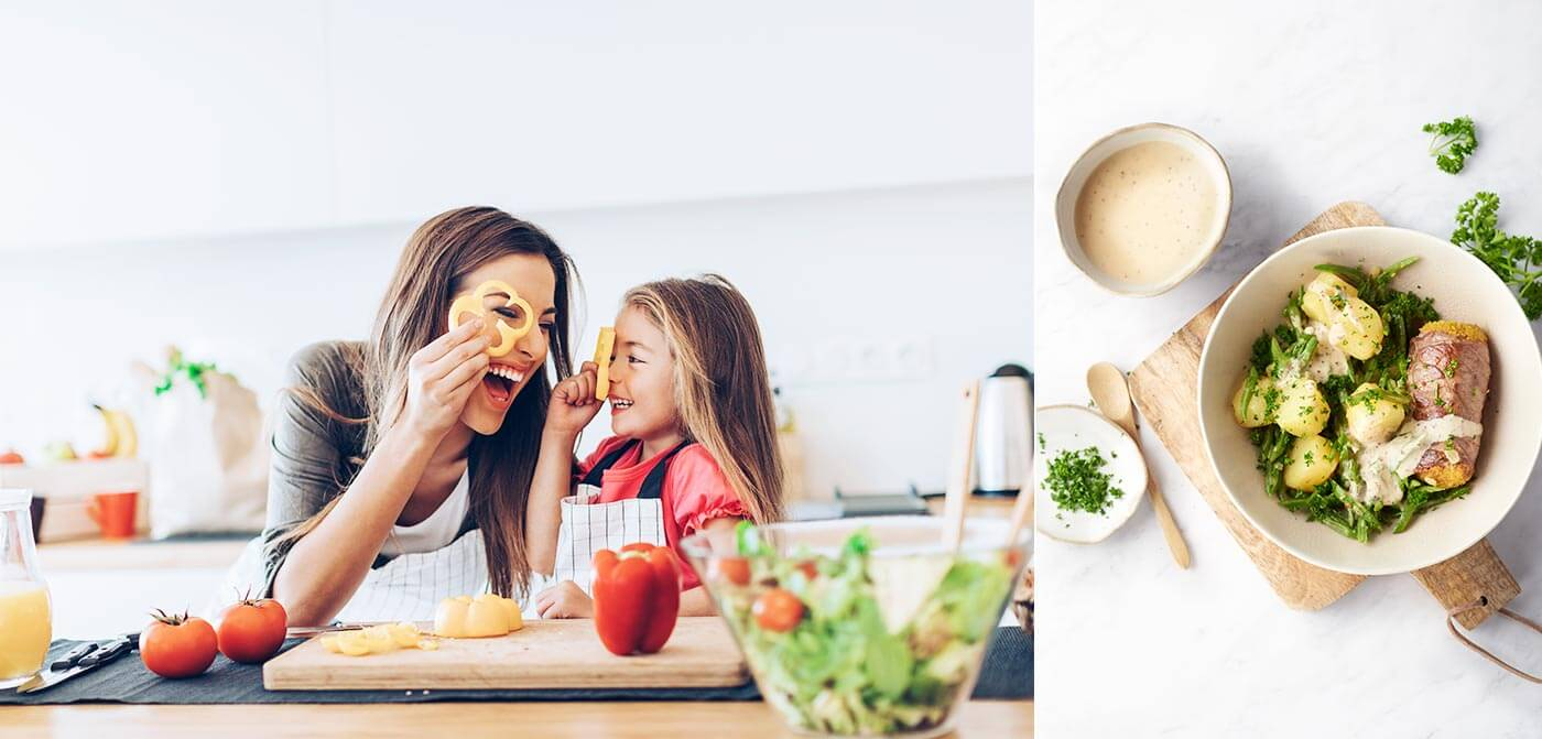 2-delige afbeelding van een moeder en dochter die het eten klaarmaken links en een heerlijk 15gram Foodbox recept rechts.