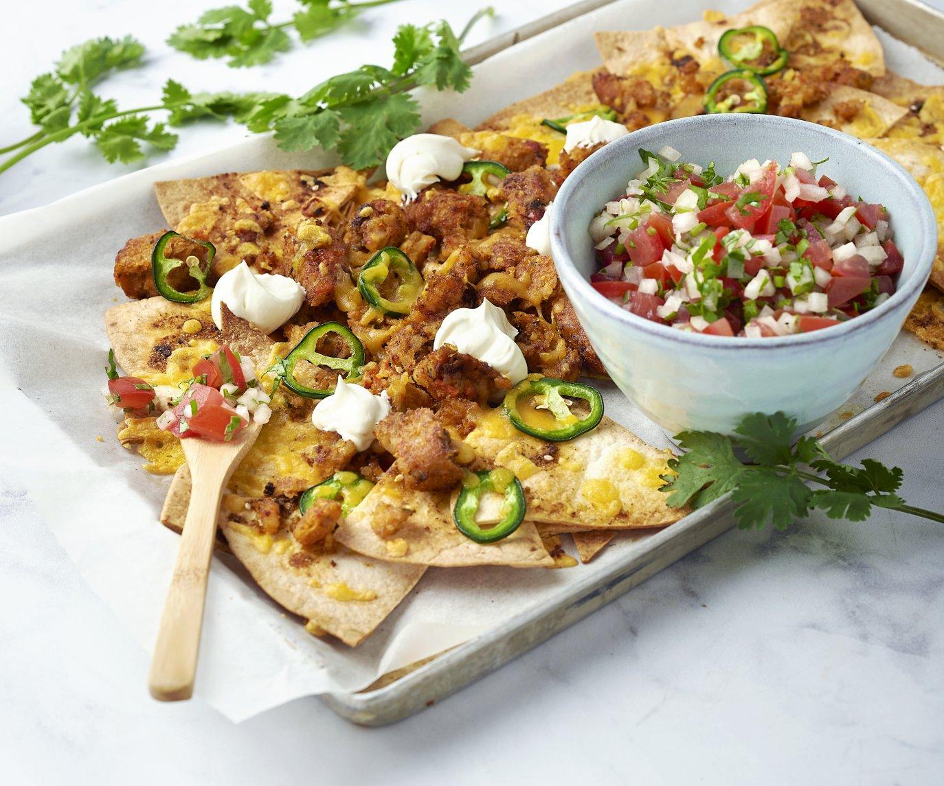 Veggie loaded nachos