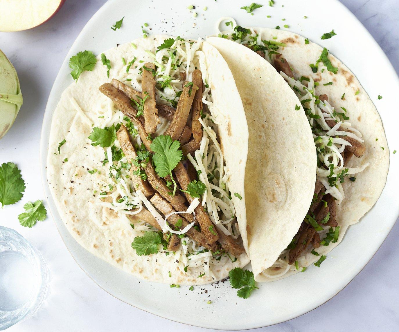 Tortilla's met veggie shoarma en frisse koolsla van koolrabi