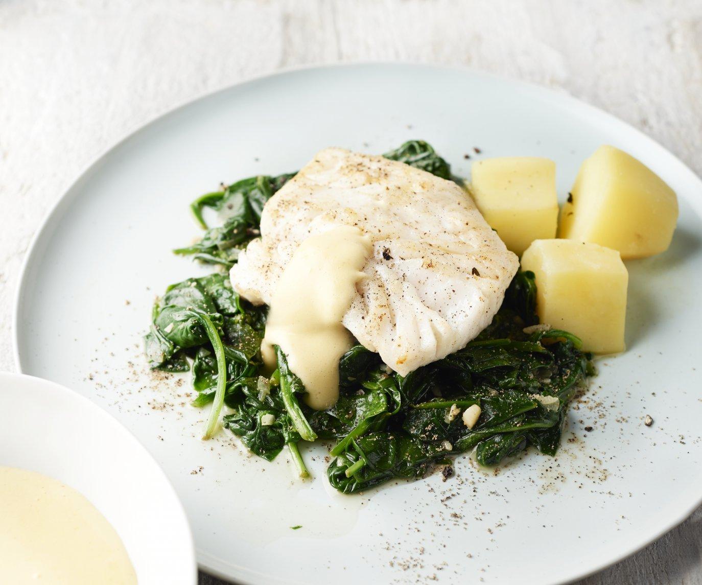 Kabeljauw met spinazie en dijonaise