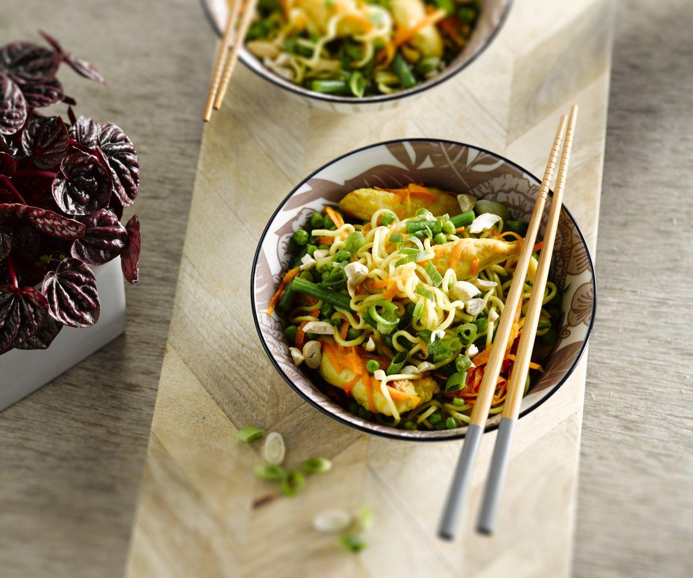 Roerbak met citroenkip en knapperige groentjes