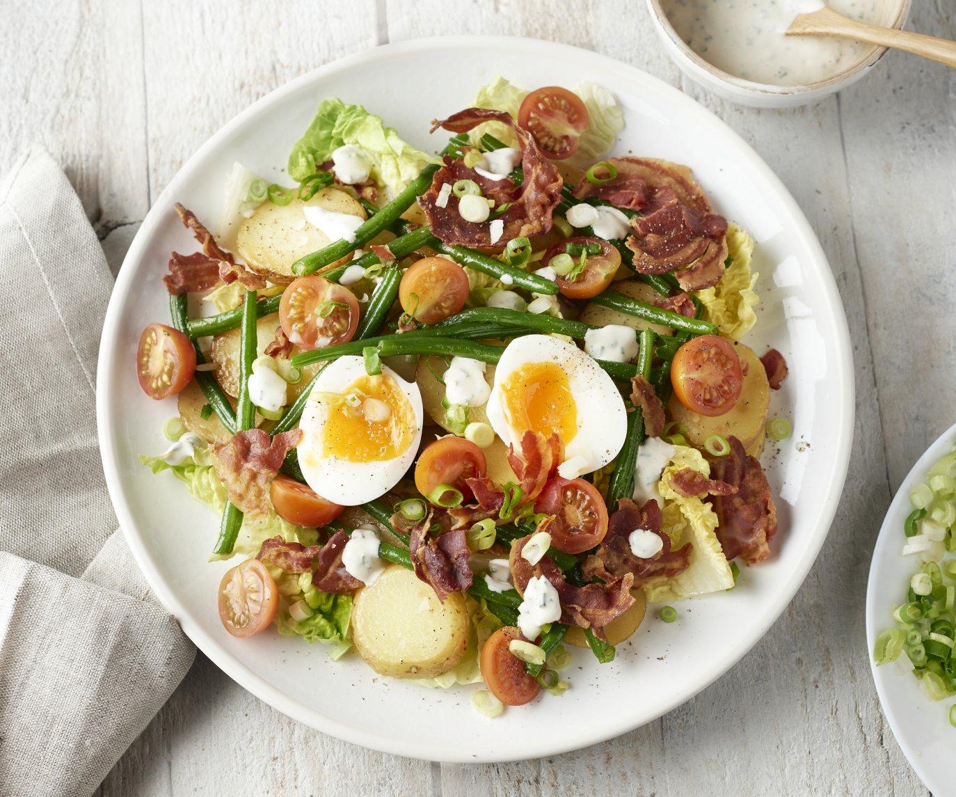 Warme aardappelsalade met krokante pancetta en ei