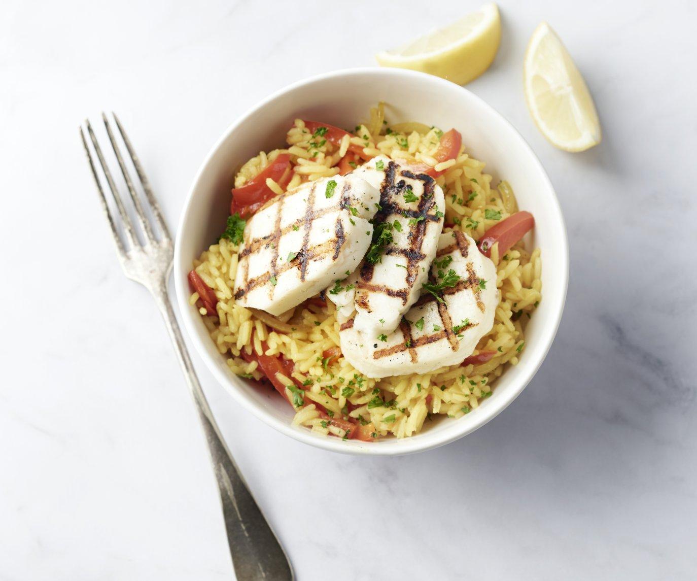 Vegetarische paella met halloumi
