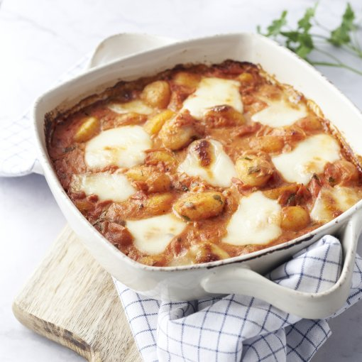 Gnocchi met tomaat en mozzarella in de oven