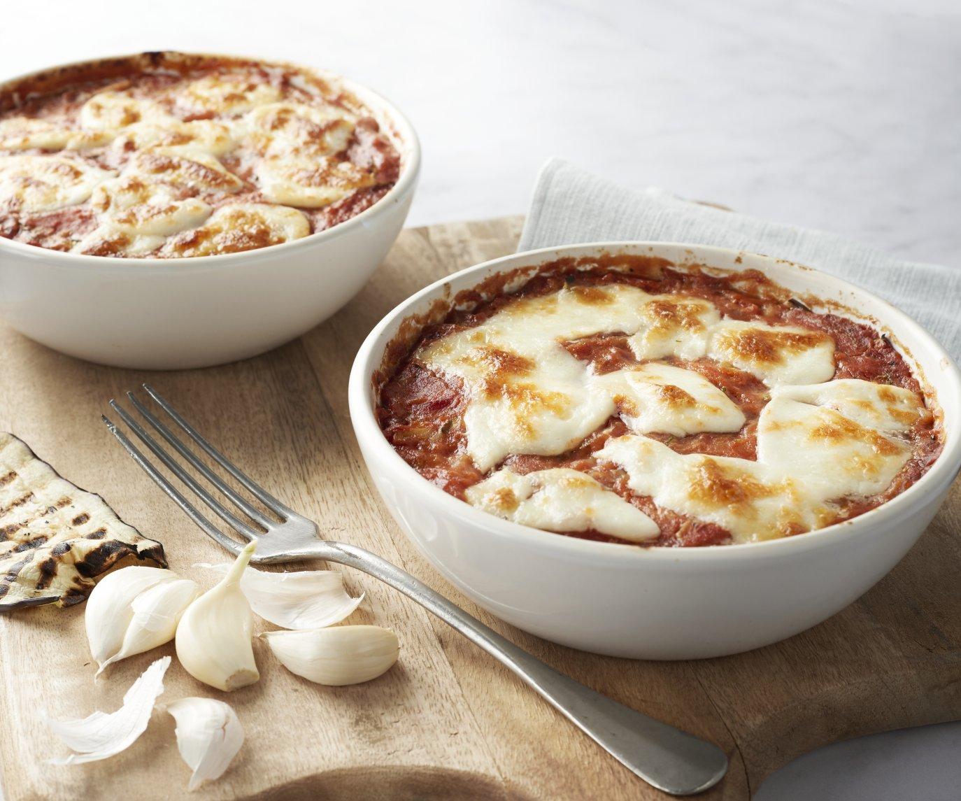 Lasagne van aubergine en mozzarella