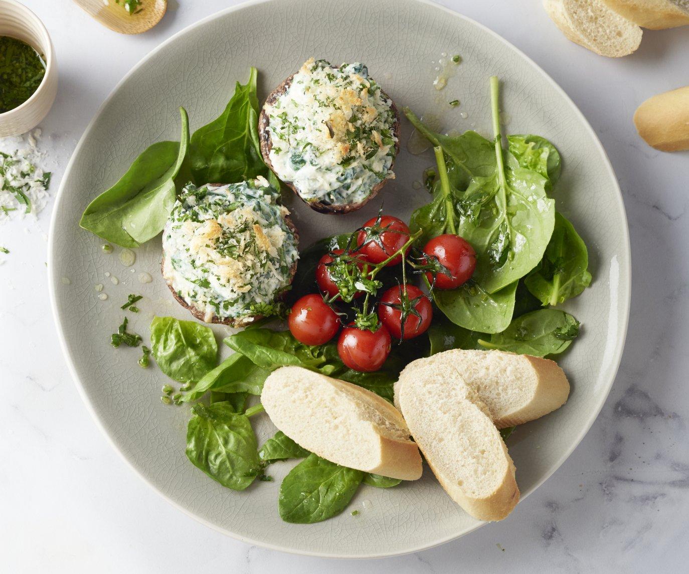 Gevulde portobello's met ricotta en een kruidenkorstje