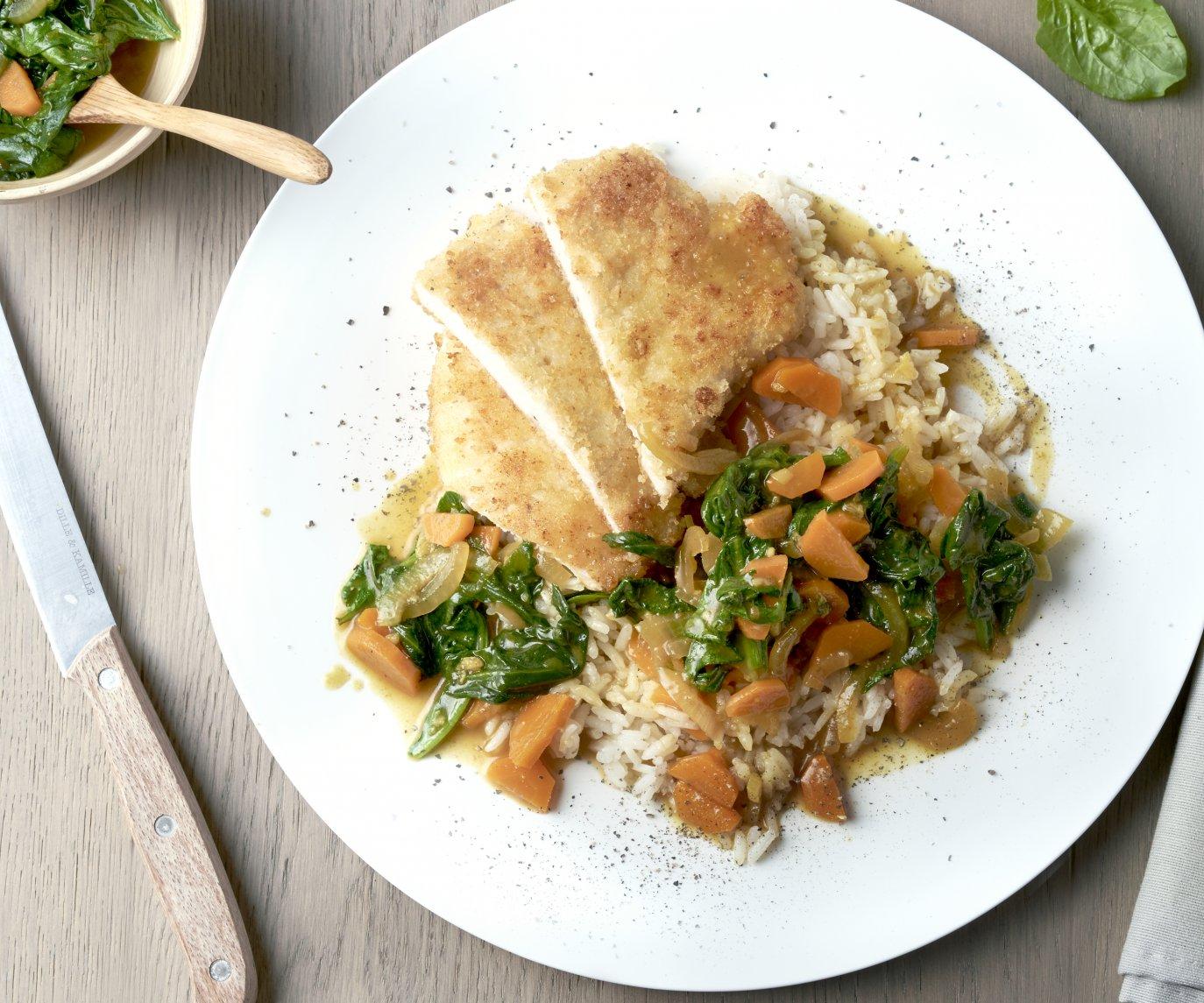 Kip Katsu met wortel en spinazie