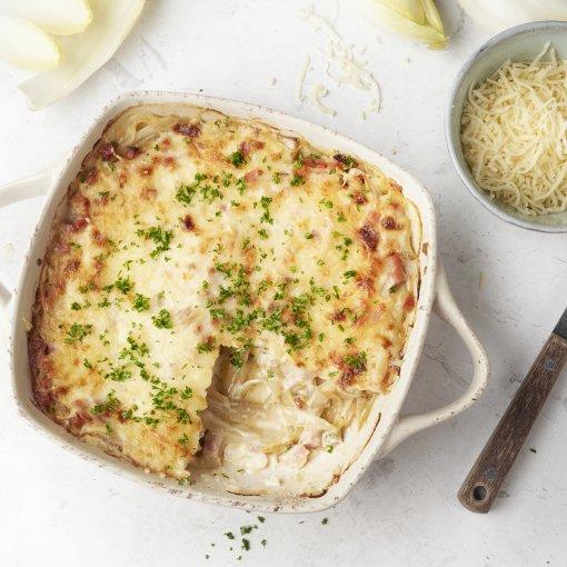 Lasagne met witloof, ham en kaassaus