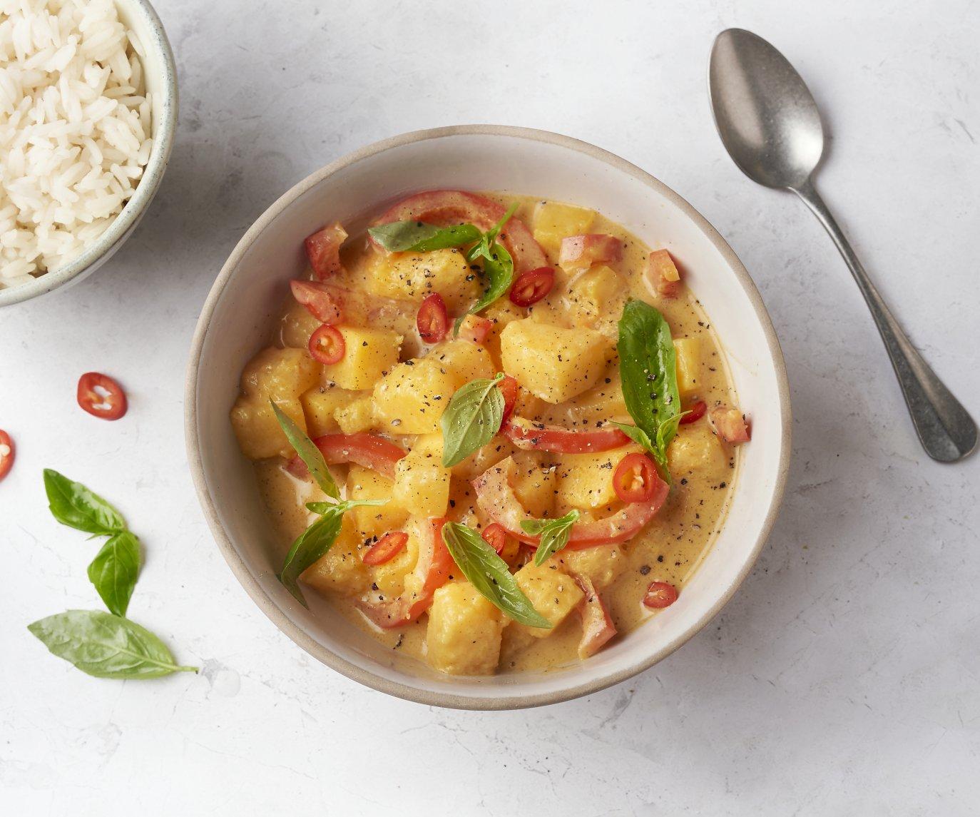 Panang curry met pompoen