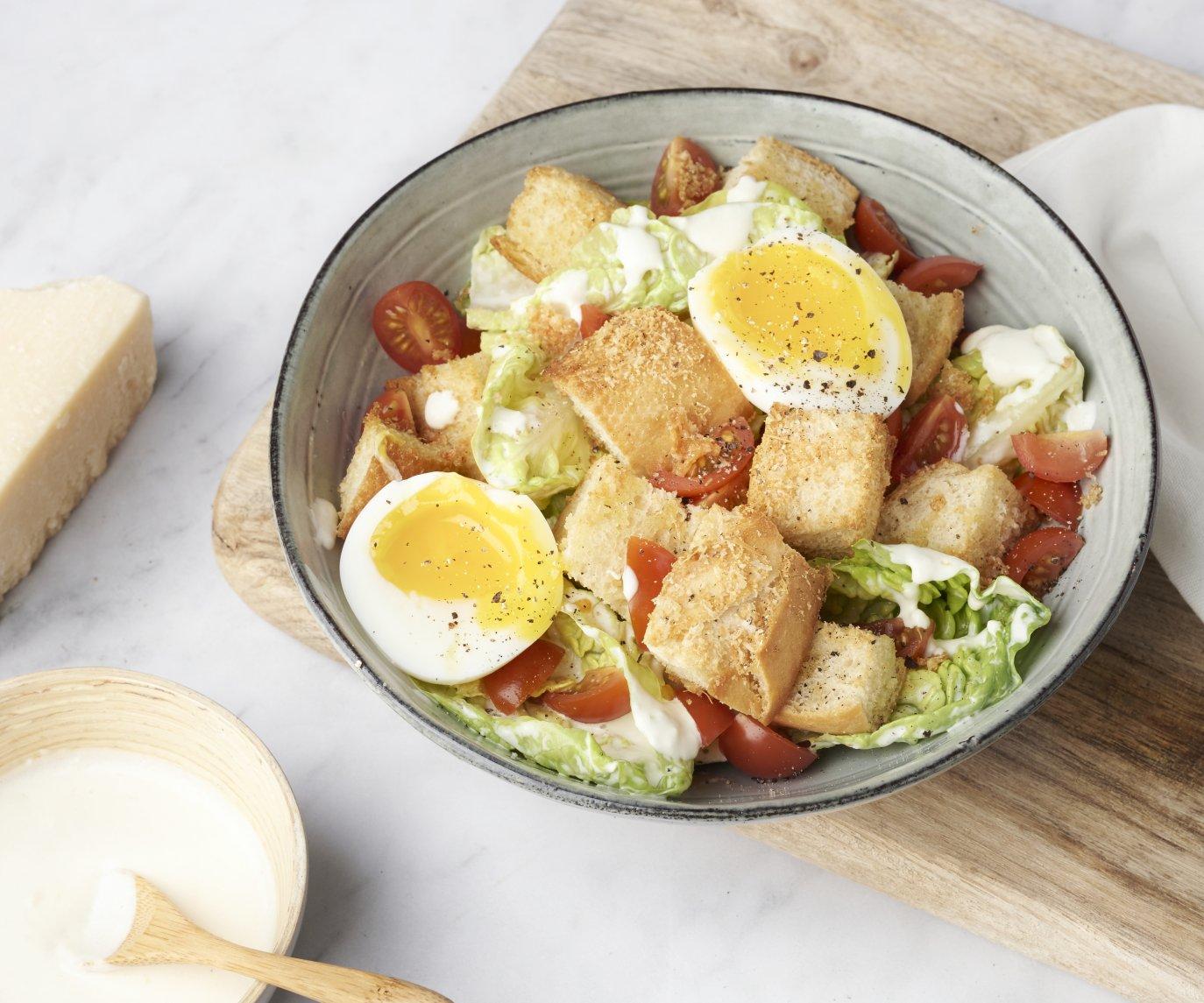 Caesar salade met parmezaancroutons