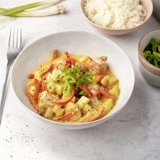 Zachte curry met kip en appel