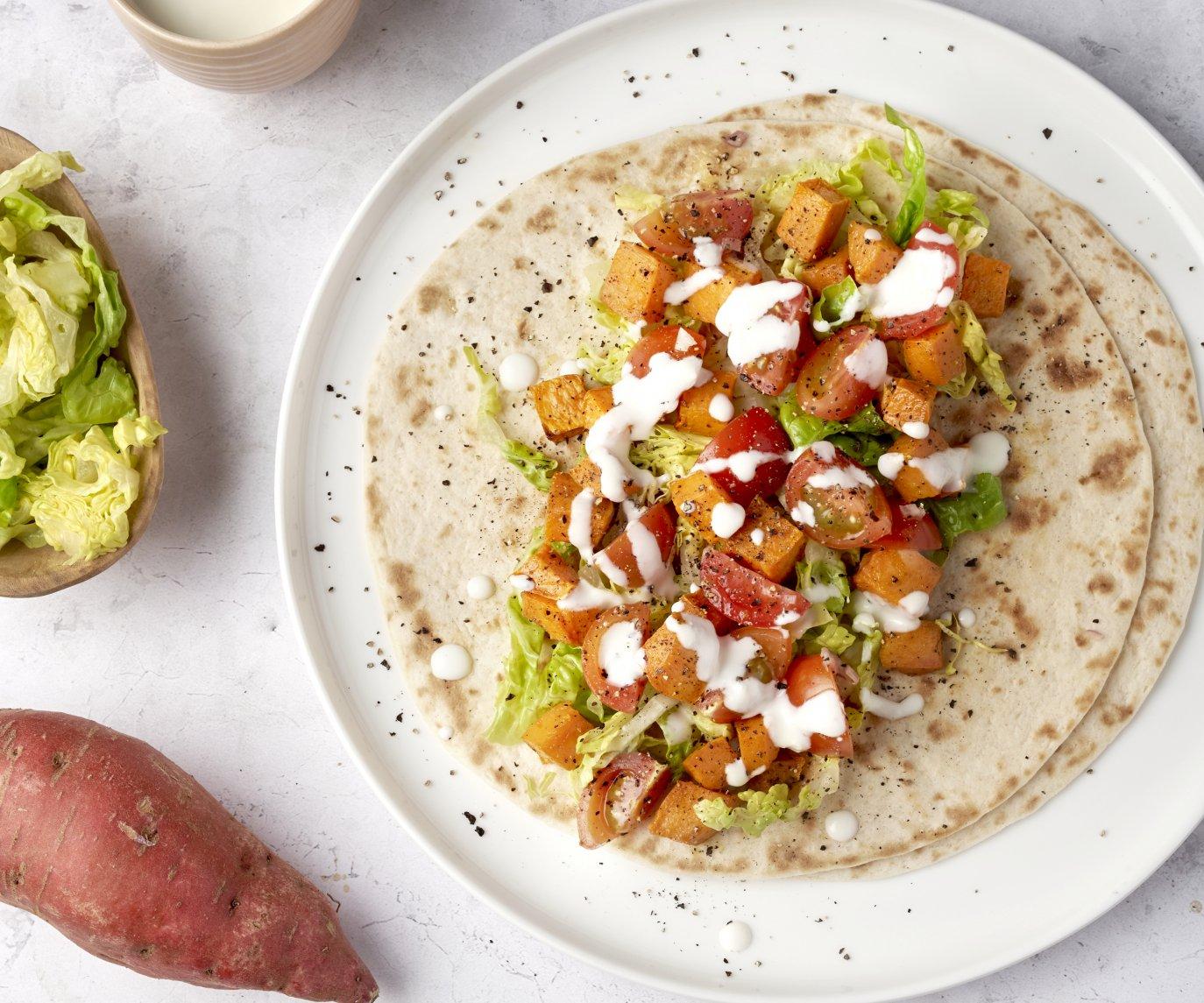 Taco met zoete aardappel en fetasaus