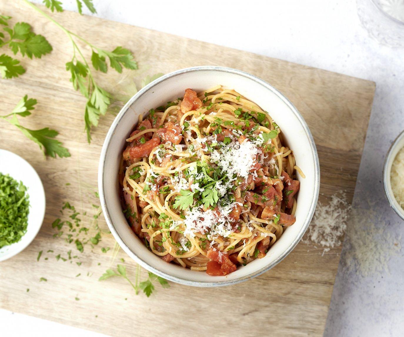 Spaghetti carbonara rosso