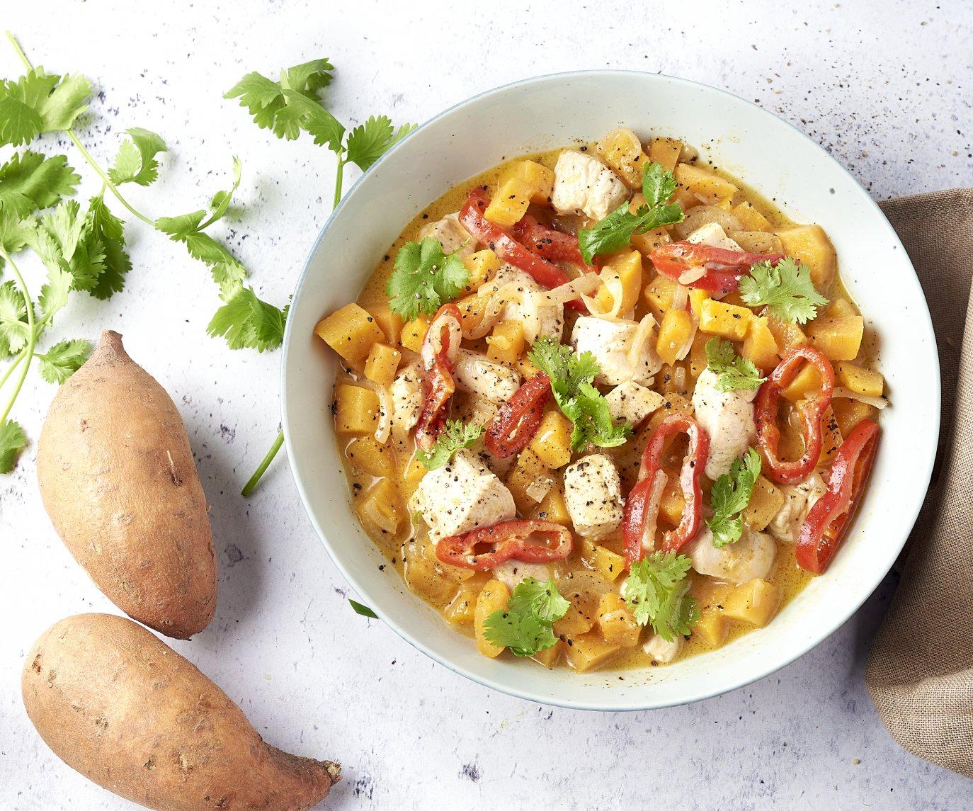 Panang curry met kip en zoete aardappel