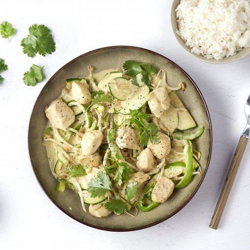Snelle Thaise groene curry met kip
