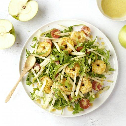 Salade met scampi, appel en curryvinaigrette