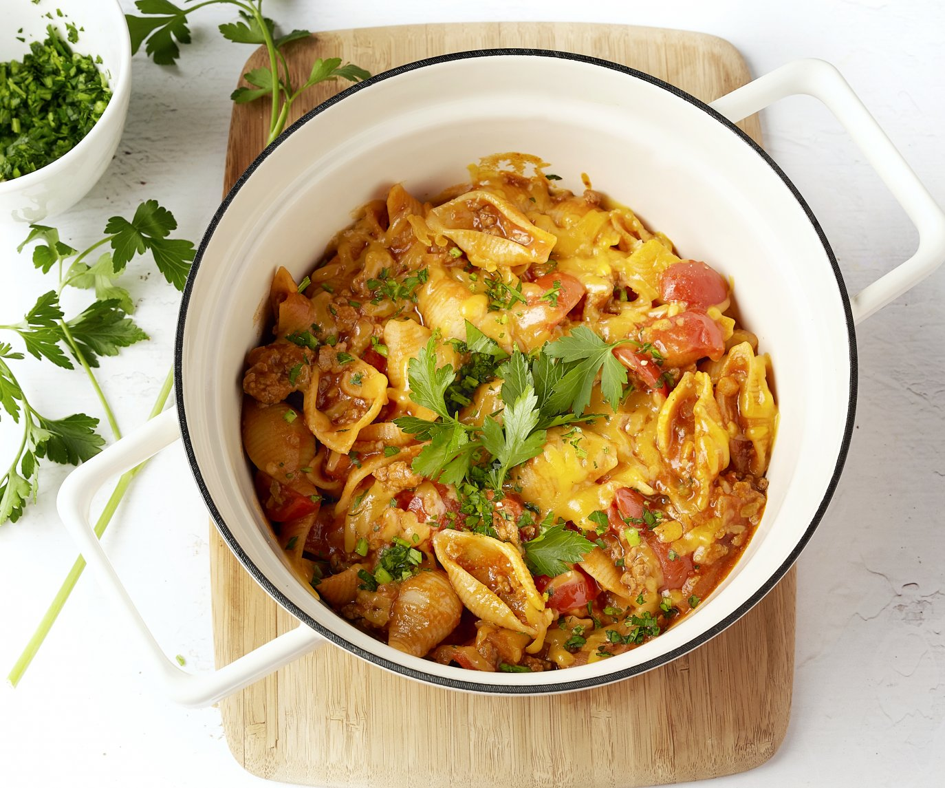 Eénpotspasta 'chili con carne'-style