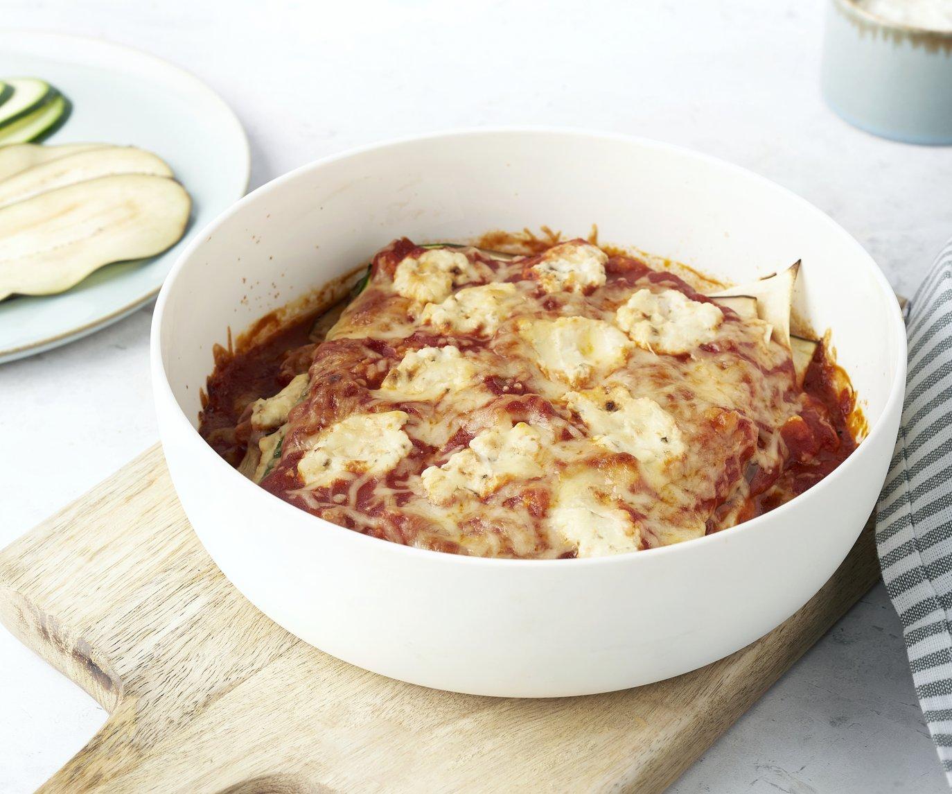 Lichte lasagne van courgette en aubergine