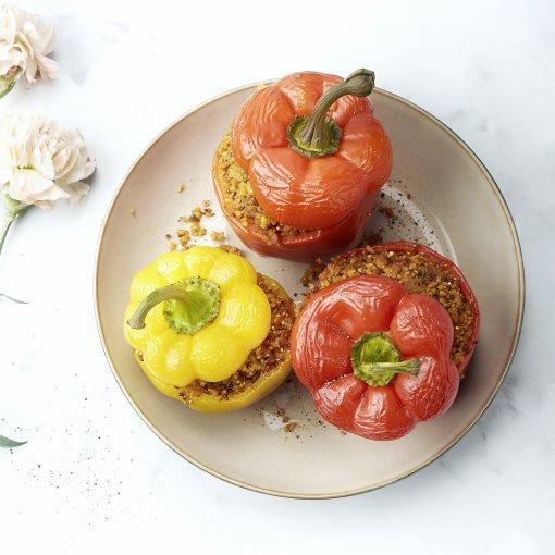 Gevulde paprika met quinoa en kippengehakt