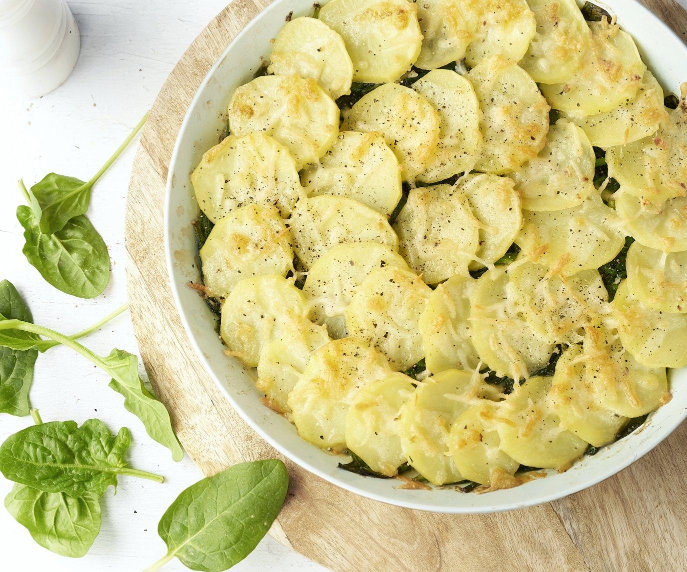 Aardappelgratin met gehakt en spinazie