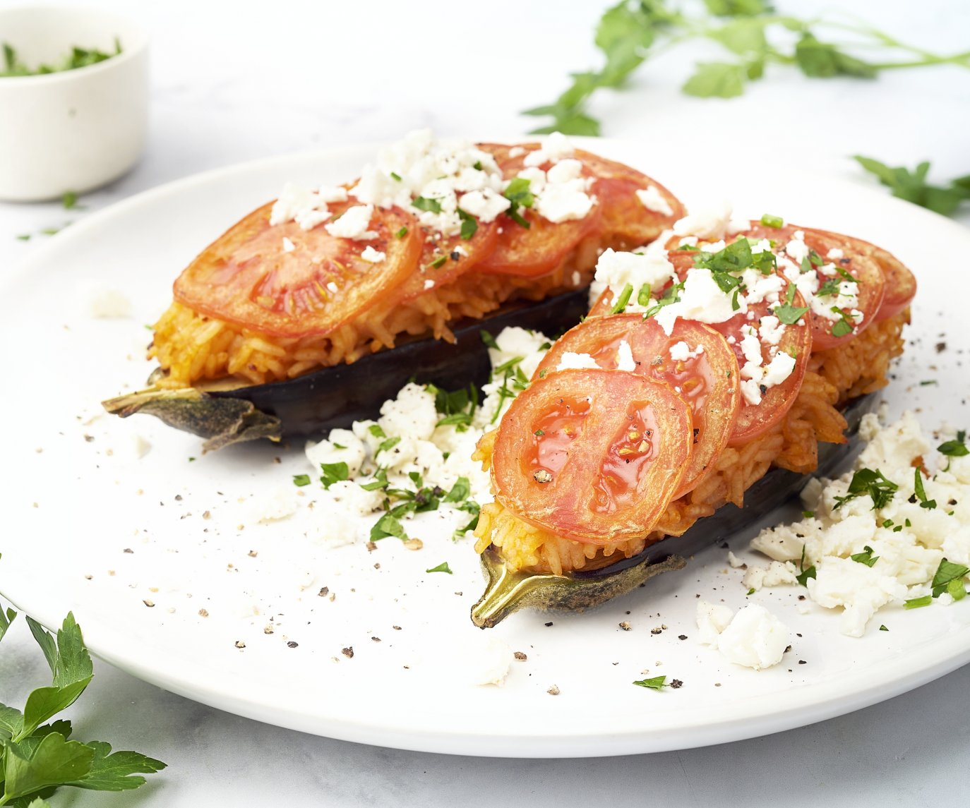 Gevulde aubergine met rijst en tomaat