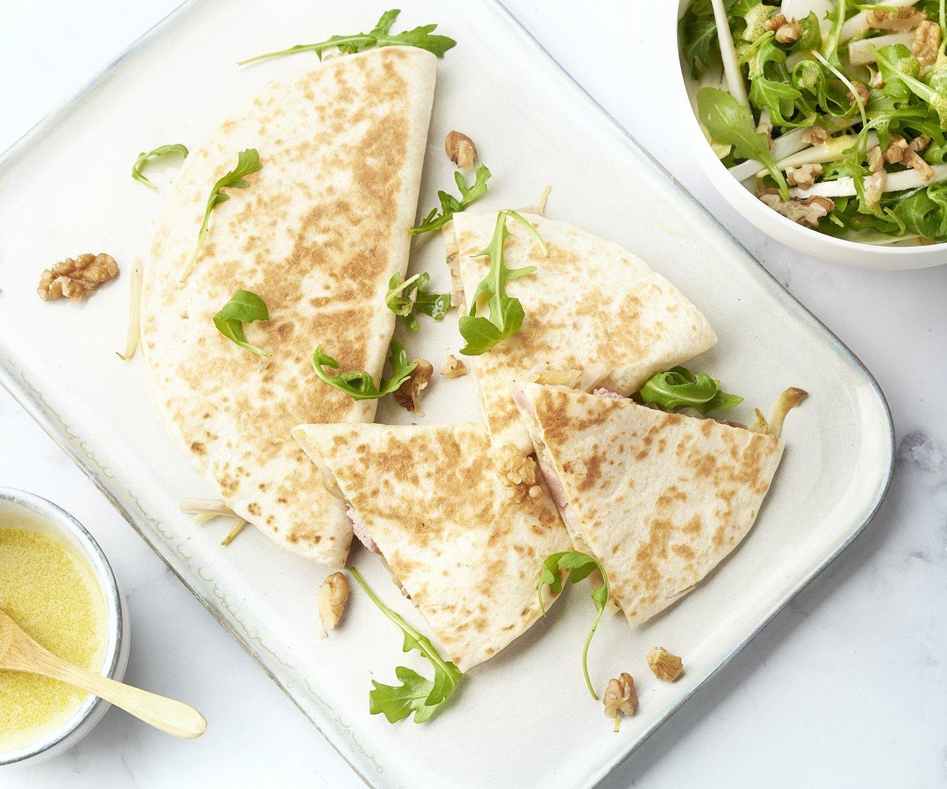 Belgische quesadilla's met ham en witloof