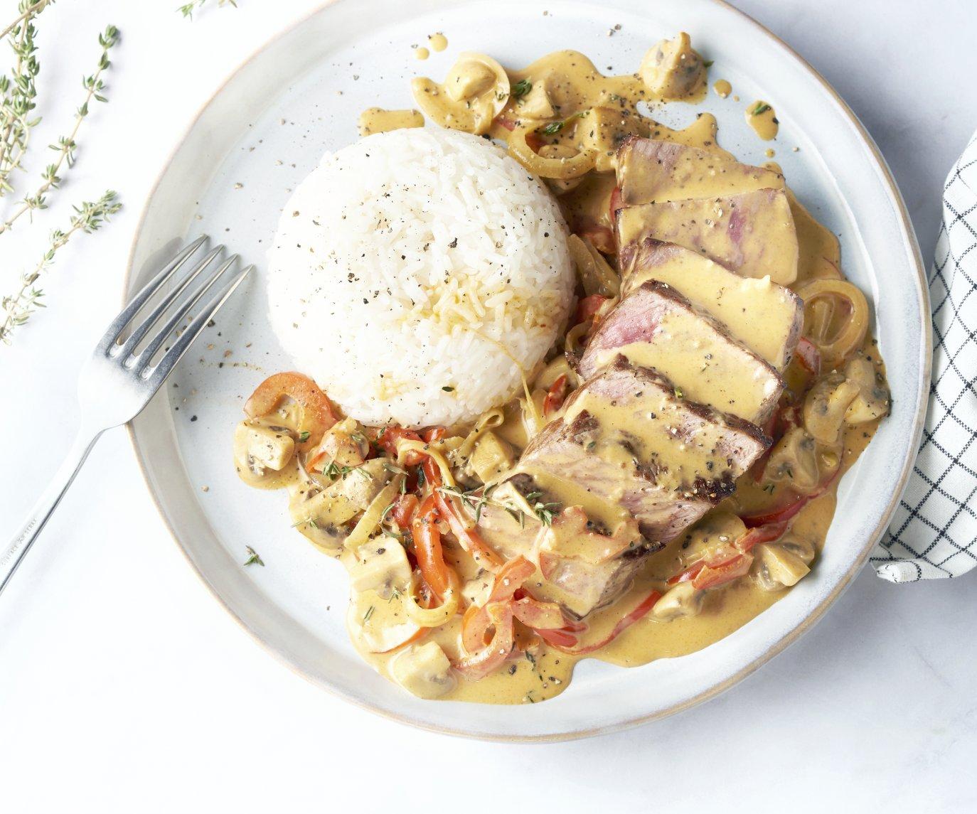 Steak Stroganoff met rijst