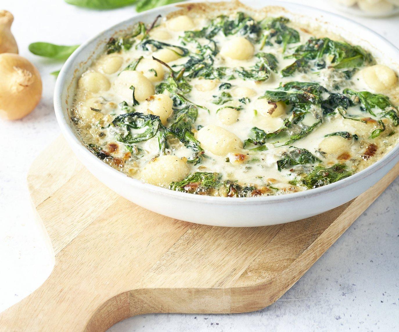 Gnocchi uit de oven met spinazie en kaas