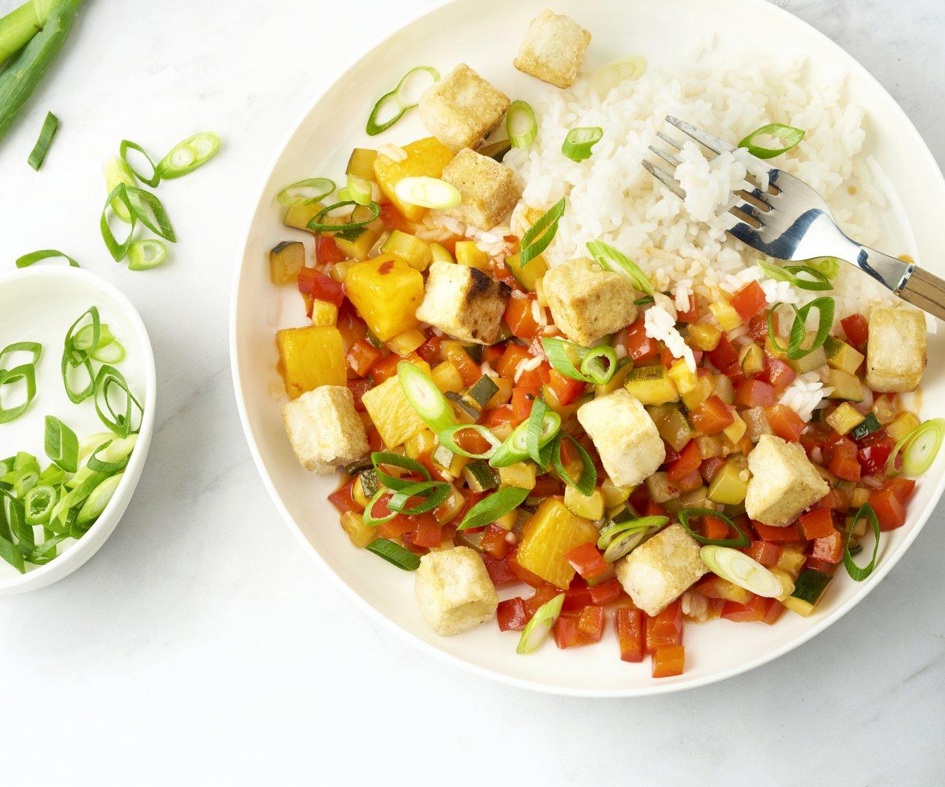 Krokante tofu in zoetzure saus