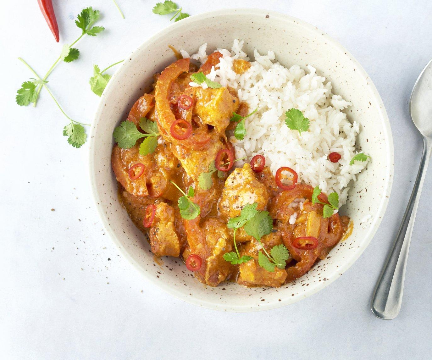 Indische kip curry met appel en rijst