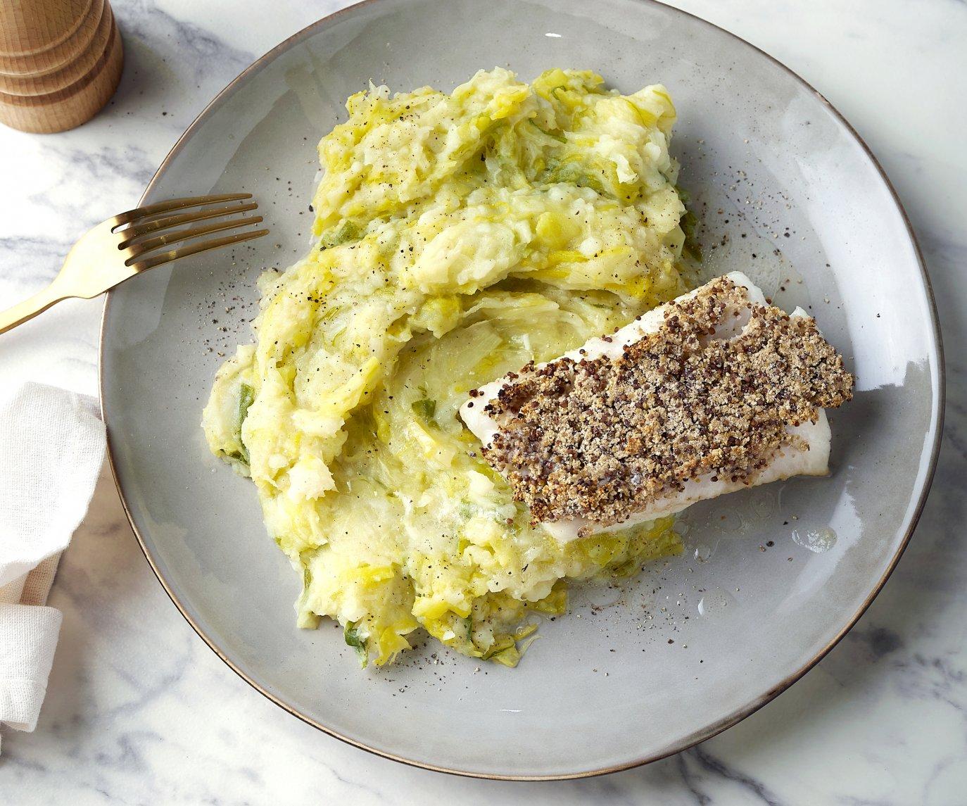 Witte vis met graanmosterdkorstje en preipuree